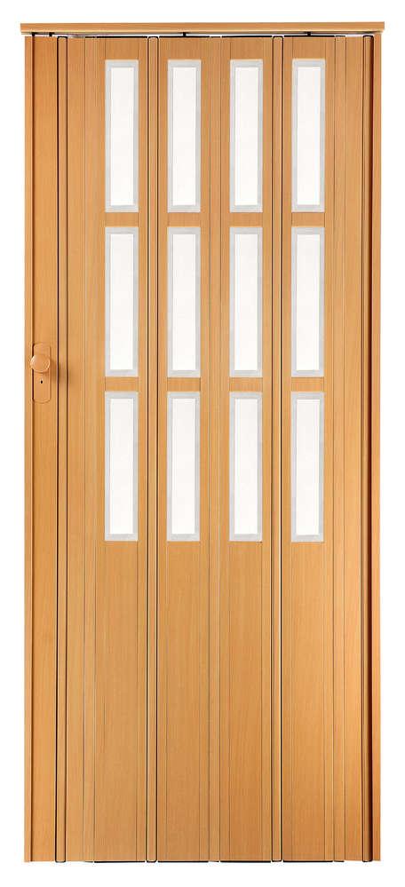 Falttür Schiebetür buche farben mit Schloß Schlüssel Fenster 85cm